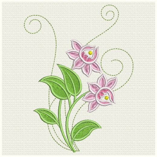 Embroidery designs colorful flower