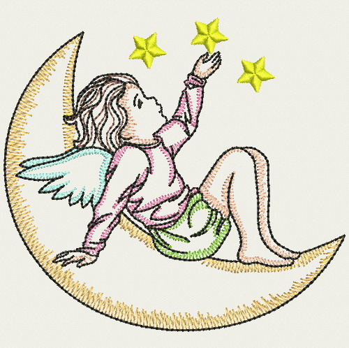 Embroidery designs vintage angel girls md