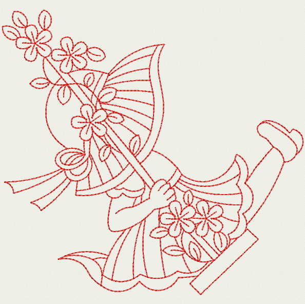 Embroidery Designs  Redwork Swing SunbonnetsLg