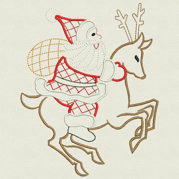 Embroidery designs vintage christmas santa lg