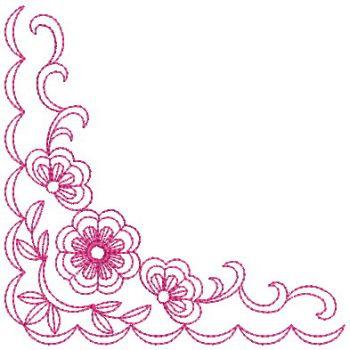 Embroidery Designs Redwork Flower Corner 2Sm