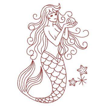 Embroidery Designs Redwork Mermaidssm