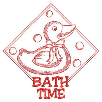Embroidery designs redwork bath time sm for Bathroom embroidery designs