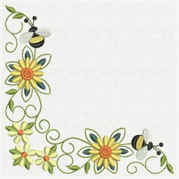 Embroidery Designs Bee Corner Decorations Lg