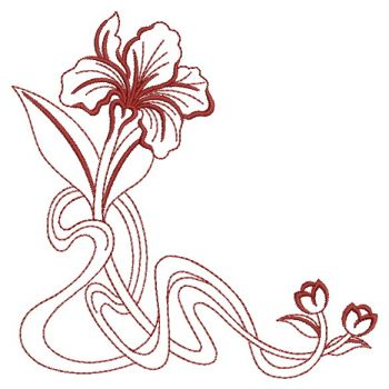 Embroidery Designs Art Nouveau Flower Corners Sm